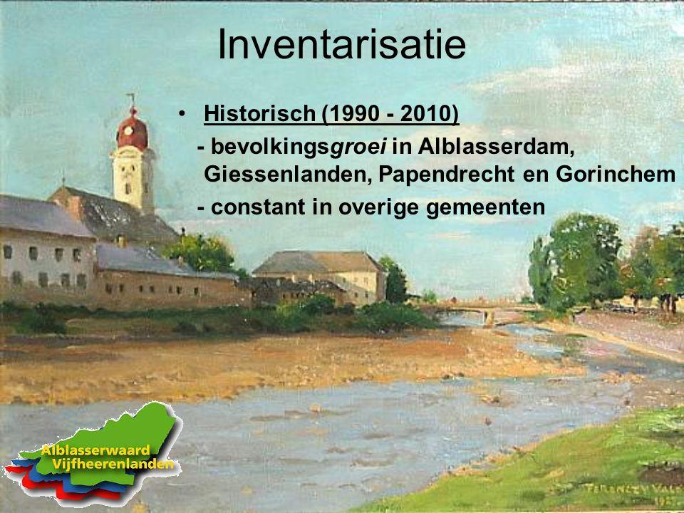 Inventarisatie Historisch (1990 - 2010) - bevolkingsgroei in Alblasserdam, Giessenlanden, Papendrecht en Gorinchem - constant in overige gemeenten