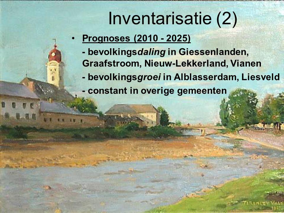 Inventarisatie (2) Prognoses (2010 - 2025) - bevolkingsdaling in Giessenlanden, Graafstroom, Nieuw-Lekkerland, Vianen - bevolkingsgroei in Alblasserdam, Liesveld - constant in overige gemeenten
