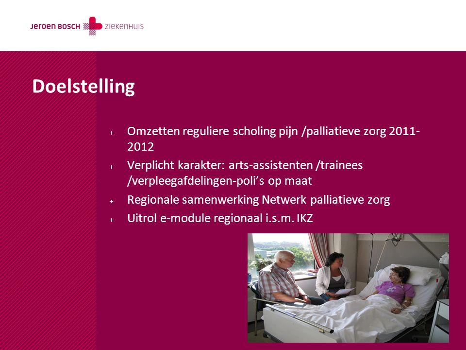 Doelstelling + Omzetten reguliere scholing pijn /palliatieve zorg 2011- 2012 + Verplicht karakter: arts-assistenten /trainees /verpleegafdelingen-poli