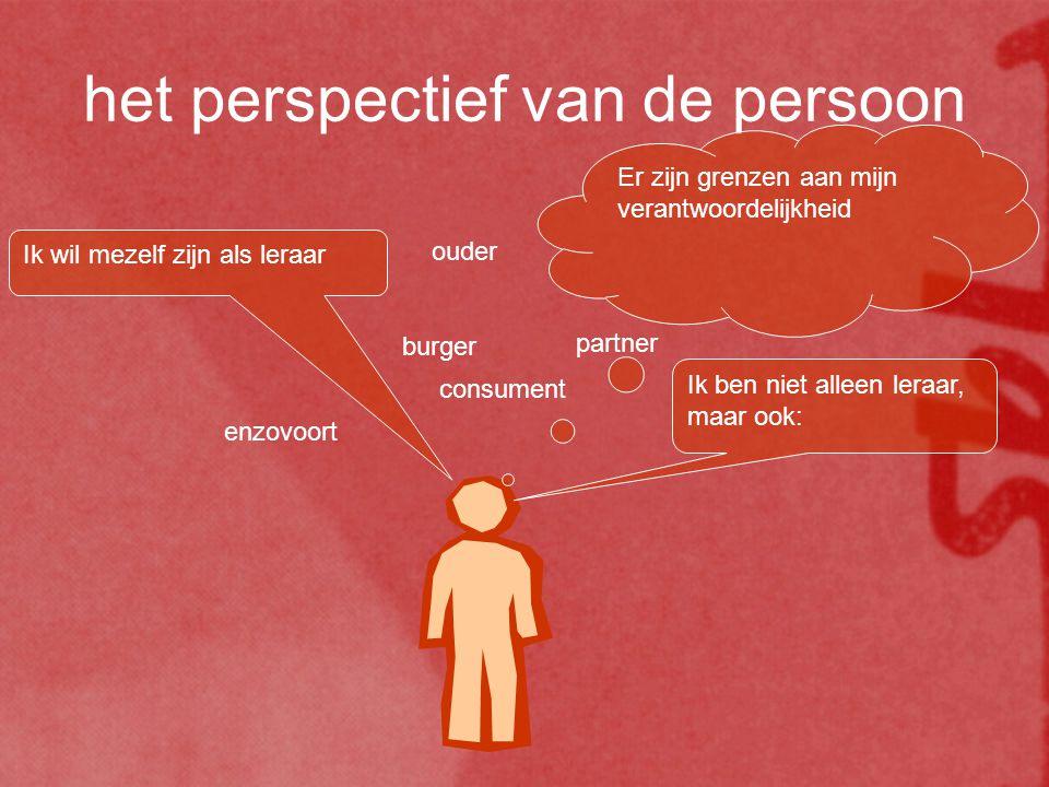 het perspectief van de persoon Ik wil mezelf zijn als leraar Ik ben niet alleen leraar, maar ook: ouder partner burger consument enzovoort Er zijn gre