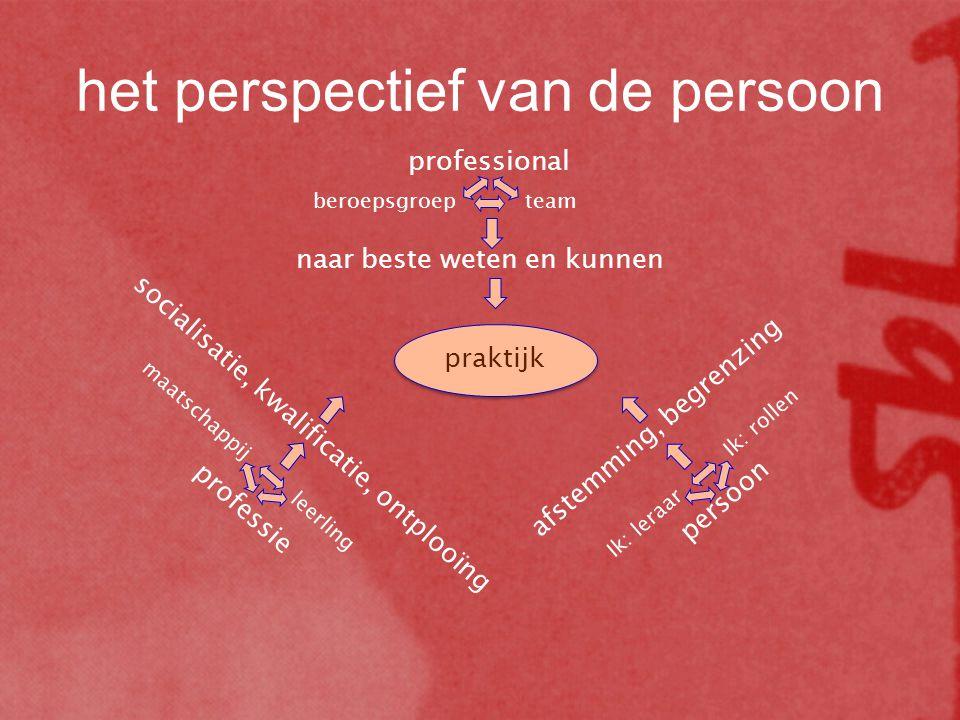 praktijk professional beroepsgroepteam naar beste weten en kunnen professie maatschappij leerling socialisatie, kwalificatie, ontplooïng afstemming, b