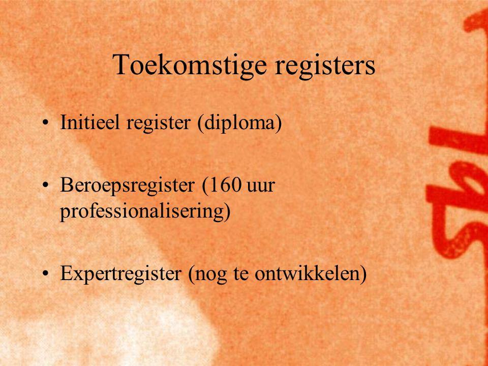Toekomstige registers Initieel register (diploma) Beroepsregister (160 uur professionalisering) Expertregister (nog te ontwikkelen)