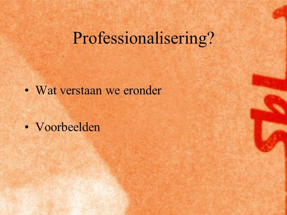 Professionalisering Wat verstaan we eronder Voorbeelden