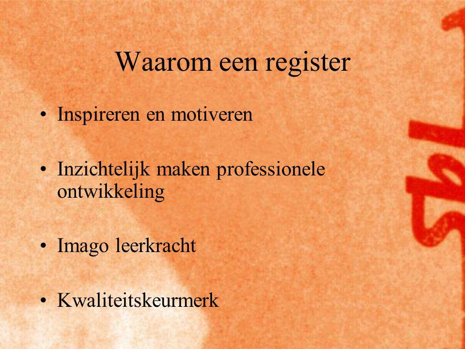 Waarom een register Inspireren en motiveren Inzichtelijk maken professionele ontwikkeling Imago leerkracht Kwaliteitskeurmerk
