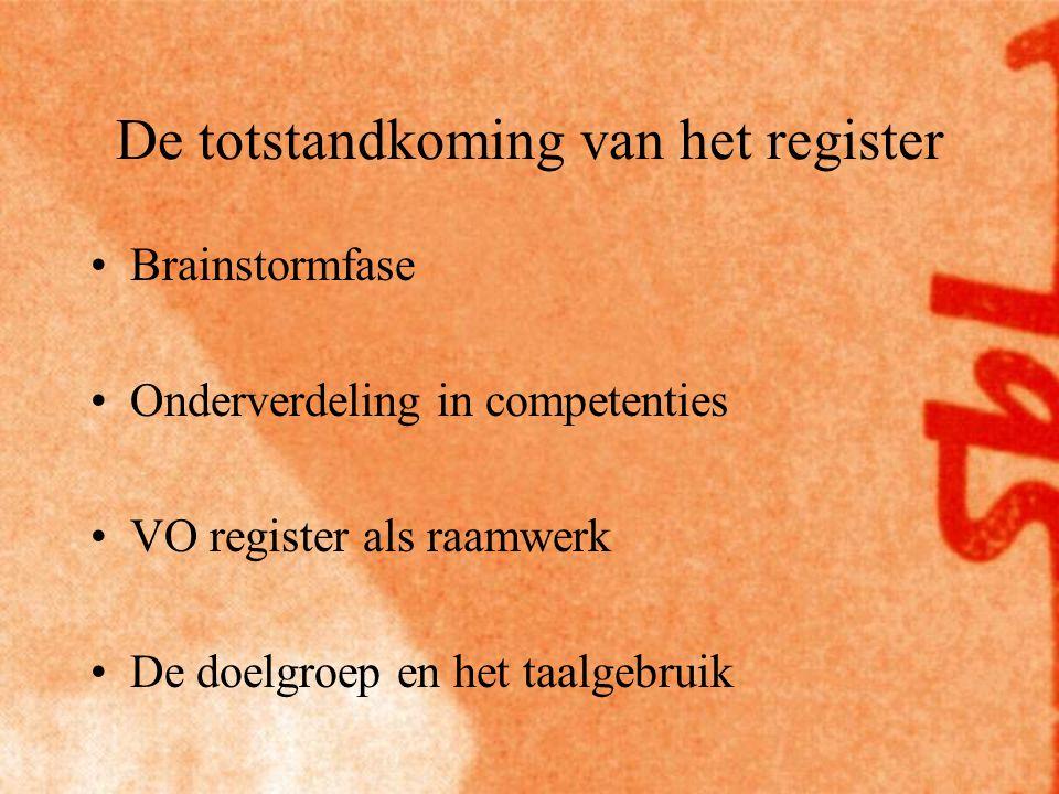 De totstandkoming van het register Brainstormfase Onderverdeling in competenties VO register als raamwerk De doelgroep en het taalgebruik