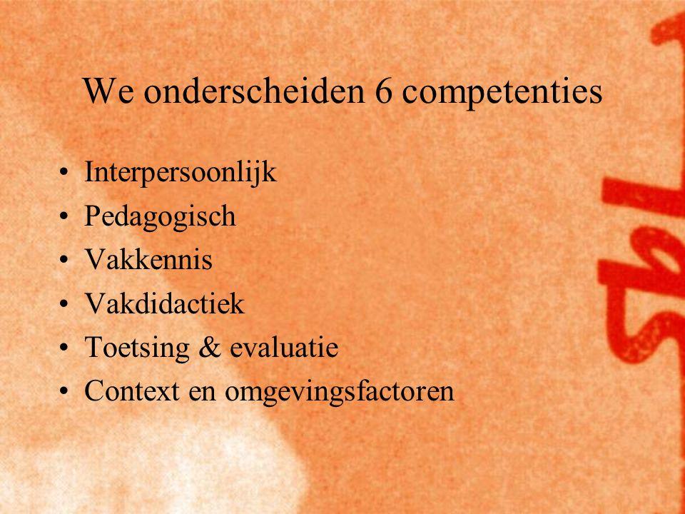We onderscheiden 6 competenties Interpersoonlijk Pedagogisch Vakkennis Vakdidactiek Toetsing & evaluatie Context en omgevingsfactoren