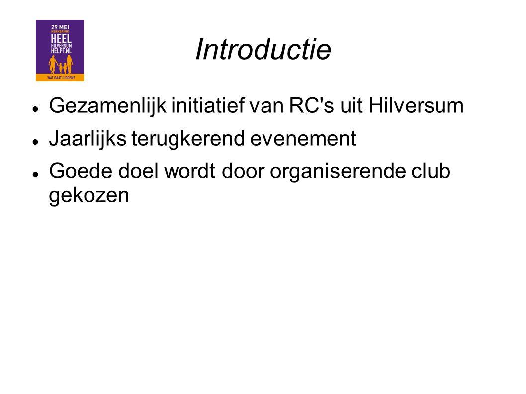 Introductie Gezamenlijk initiatief van RC's uit Hilversum Jaarlijks terugkerend evenement Goede doel wordt door organiserende club gekozen