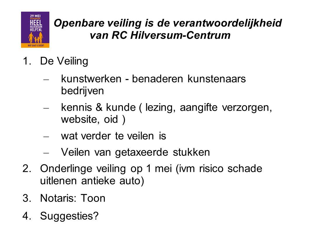 Openbare veiling is de verantwoordelijkheid van RC Hilversum-Centrum 1.De Veiling – kunstwerken - benaderen kunstenaars bedrijven – kennis & kunde ( l