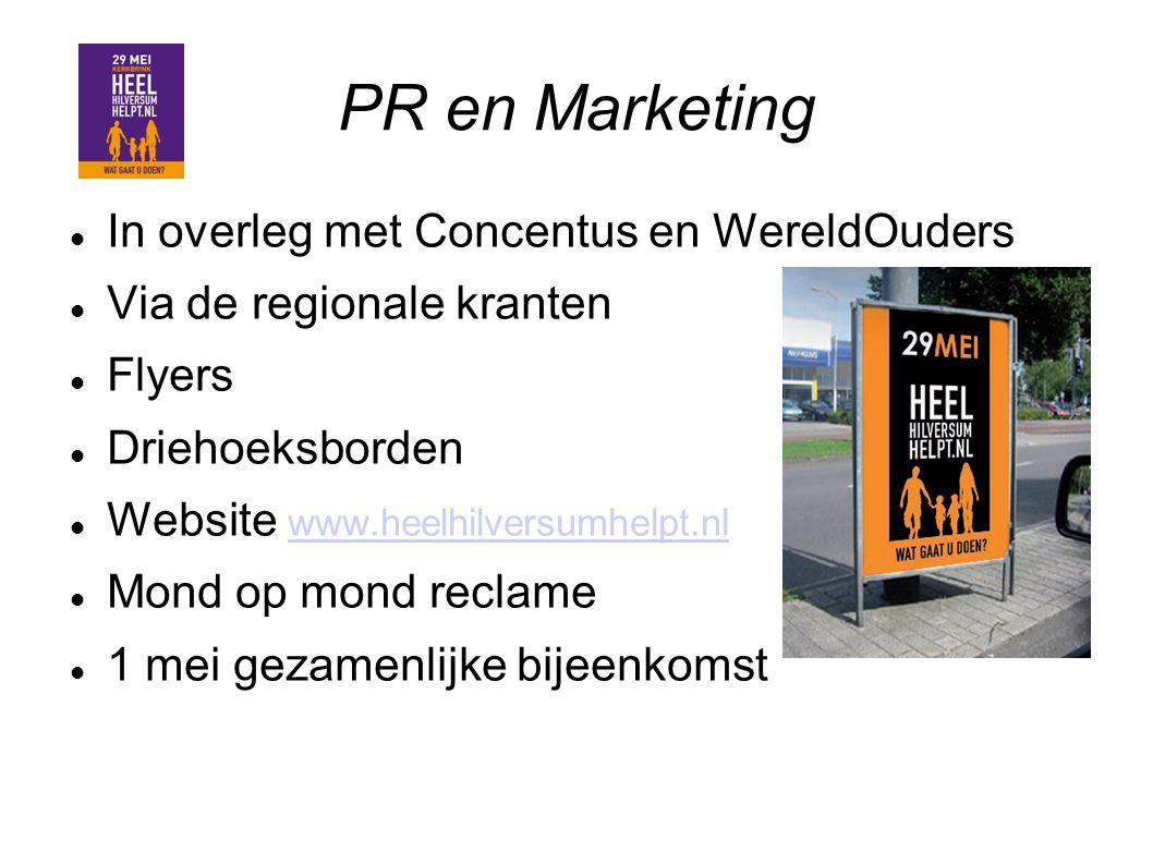 PR en Marketing In overleg met Concentus en WereldOuders Via de regionale kranten Flyers Driehoeksborden Website www.heelhilversumhelpt.nl www.heelhil