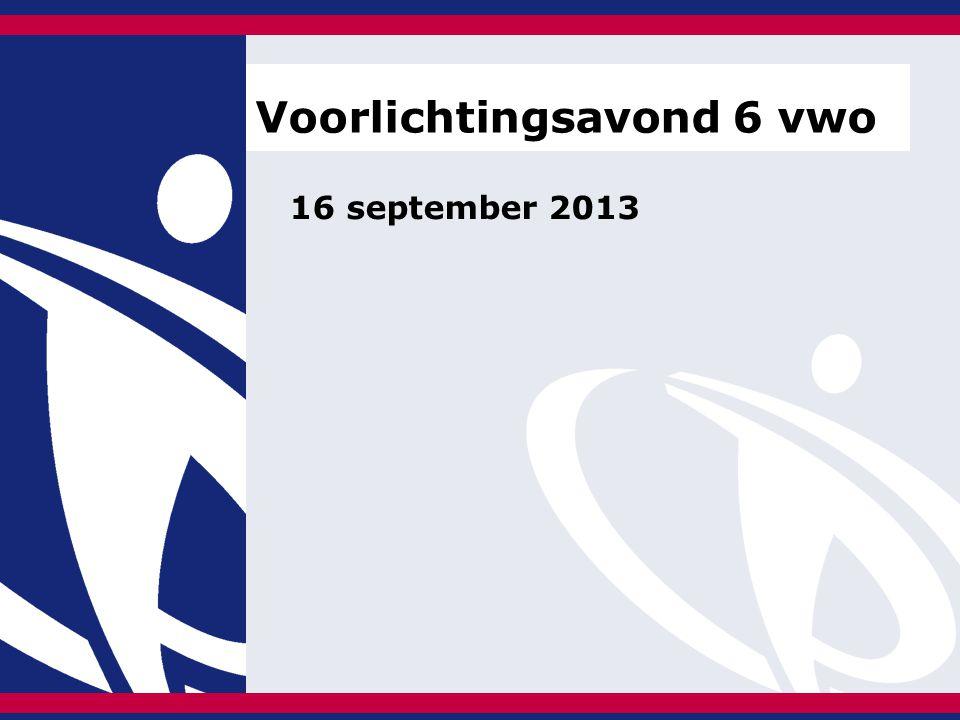 16 september 2013 Voorlichtingsavond 6 vwo