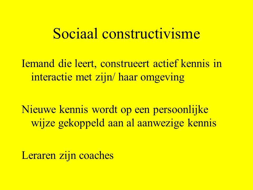 Sociaal constructivisme Iemand die leert, construeert actief kennis in interactie met zijn/ haar omgeving Nieuwe kennis wordt op een persoonlijke wijz