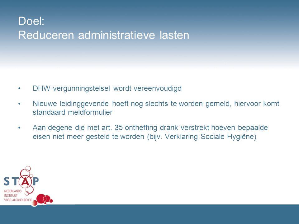 Doel: Reduceren administratieve lasten DHW-vergunningstelsel wordt vereenvoudigd Nieuwe leidinggevende hoeft nog slechts te worden gemeld, hiervoor ko