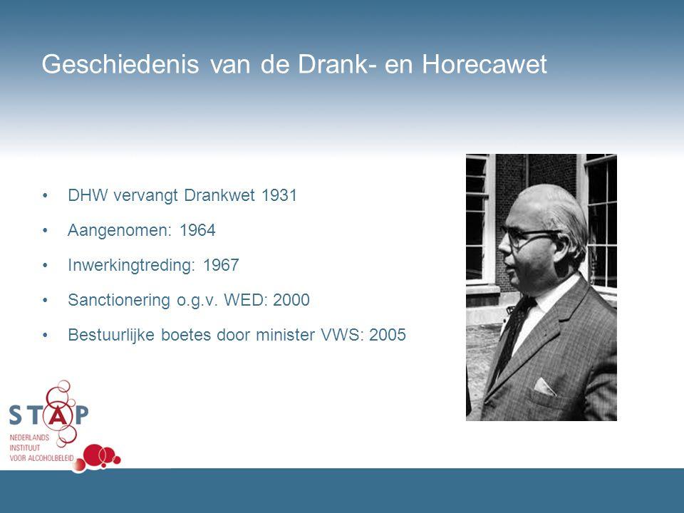 Geschiedenis van de Drank- en Horecawet DHW vervangt Drankwet 1931 Aangenomen: 1964 Inwerkingtreding: 1967 Sanctionering o.g.v. WED: 2000 Bestuurlijke