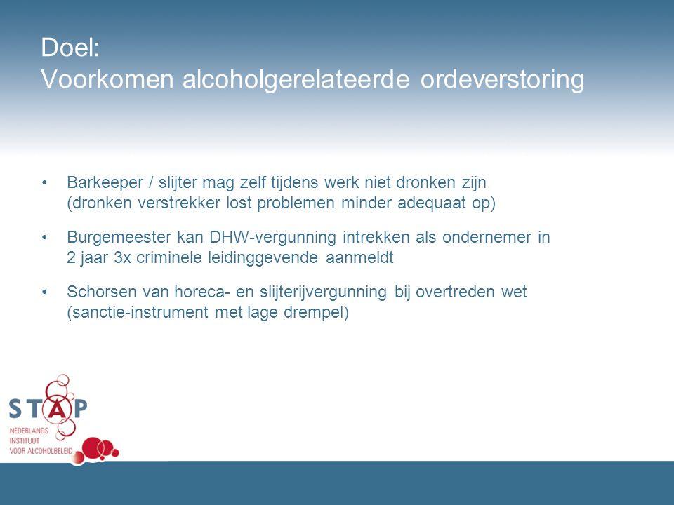 Doel: Voorkomen alcoholgerelateerde ordeverstoring Barkeeper / slijter mag zelf tijdens werk niet dronken zijn (dronken verstrekker lost problemen min