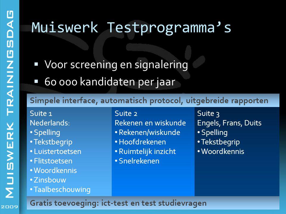 Muiswerk Testprogramma's  Voor screening en signalering  60 000 kandidaten per jaar Simpele interface, automatisch protocol, uitgebreide rapporten S