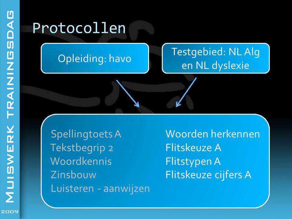 Protocollen OpleidingTestgebied Testen Opleiding: havoTestgebied: NL Alg Spellingtoets A Tekstbegrip 2 Woordkennis Zinsbouw Luisteren -aanwijzen Spell