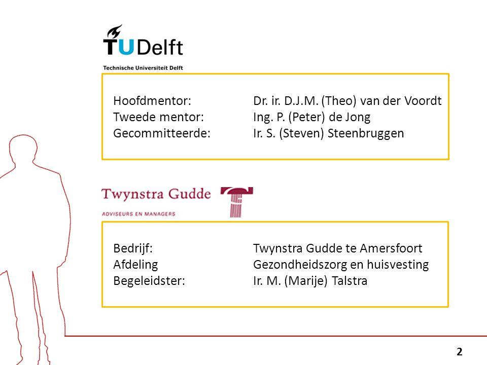 2 Hoofdmentor: Dr. ir. D.J.M. (Theo) van der Voordt Tweede mentor: Ing. P. (Peter) de Jong Gecommitteerde: Ir. S. (Steven) Steenbruggen Bedrijf: Twyns