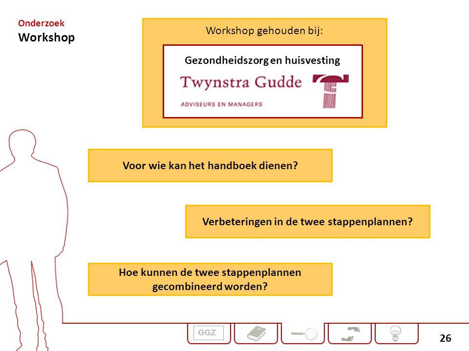 26 Workshop gehouden bij: Gezondheidszorg en huisvesting GGZ Onderzoek Workshop Voor wie kan het handboek dienen? Verbeteringen in de twee stappenplan