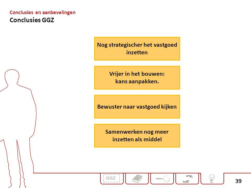 39 GGZ Conclusies en aanbevelingen Conclusies GGZ Nog strategischer het vastgoed inzetten Bewuster naar vastgoed kijken Vrijer in het bouwen: kans aan