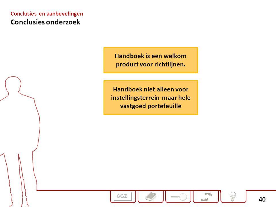 40 GGZ Conclusies en aanbevelingen Conclusies onderzoek Handboek is een welkom product voor richtlijnen. Handboek niet alleen voor instellingsterrein
