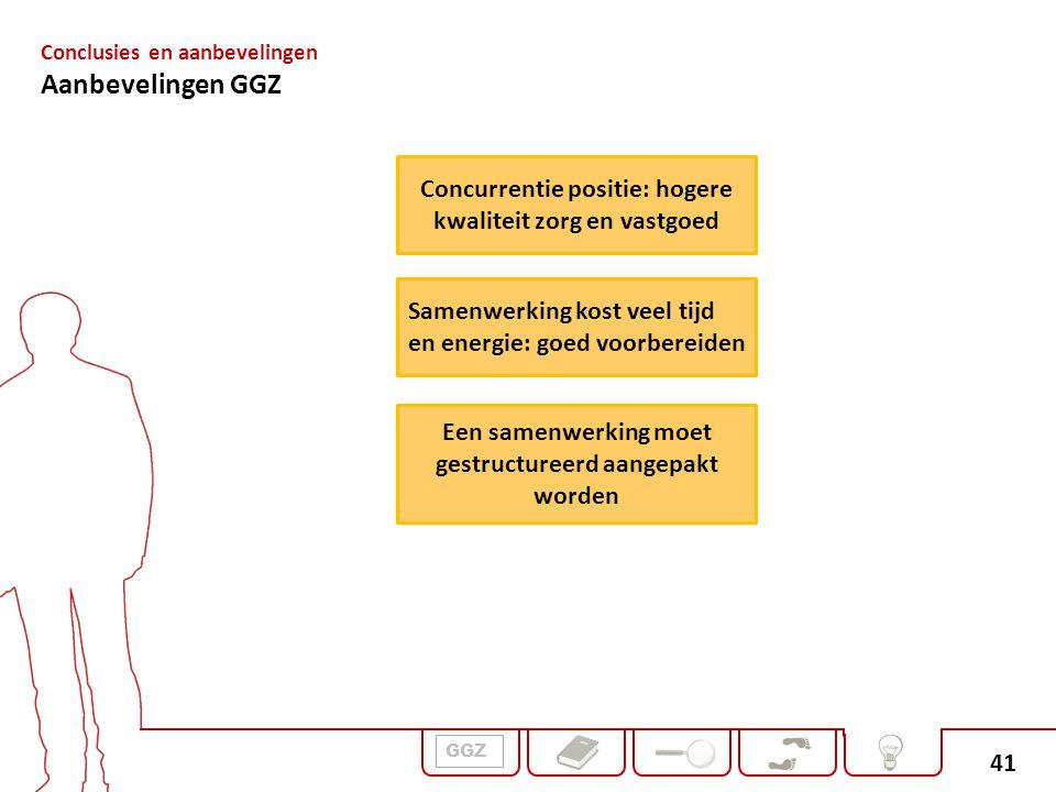 41 GGZ Conclusies en aanbevelingen Aanbevelingen GGZ Concurrentie positie: hogere kwaliteit zorg en vastgoed Een samenwerking moet gestructureerd aang