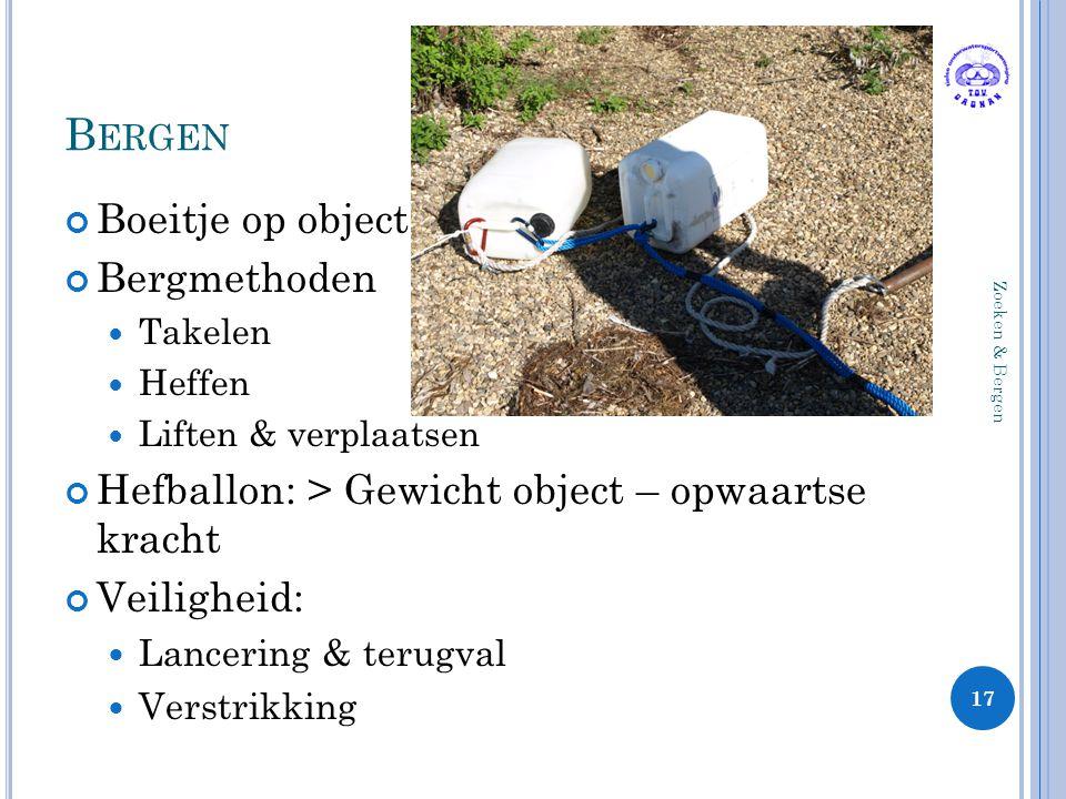 B ERGEN Boeitje op object Bergmethoden Takelen Heffen Liften & verplaatsen Hefballon: > Gewicht object – opwaartse kracht Veiligheid: Lancering & teru