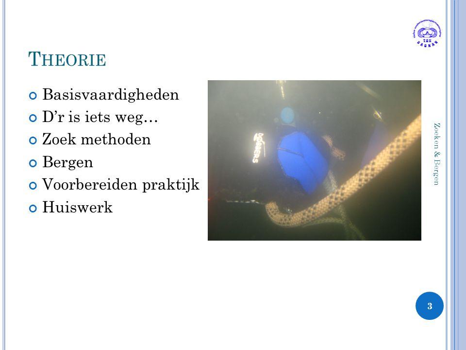 T HEORIE Basisvaardigheden D'r is iets weg… Zoek methoden Bergen Voorbereiden praktijk Huiswerk 3 Zoeken & Bergen