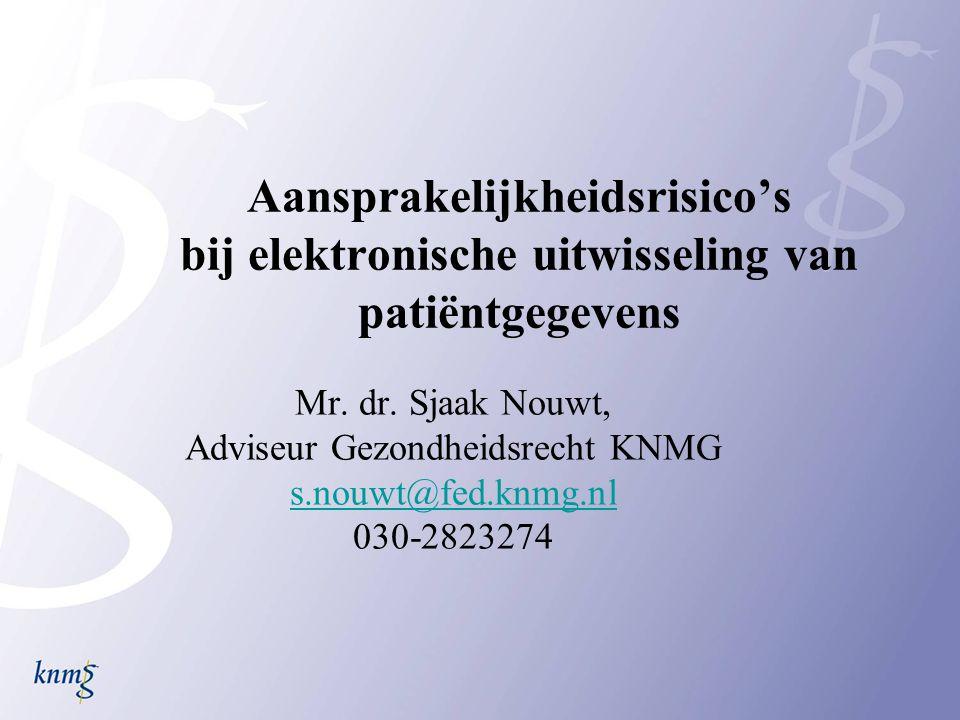 Aansprakelijkheidsrisico's bij elektronische uitwisseling van patiëntgegevens Mr. dr. Sjaak Nouwt, Adviseur Gezondheidsrecht KNMG s.nouwt@fed.knmg.nl