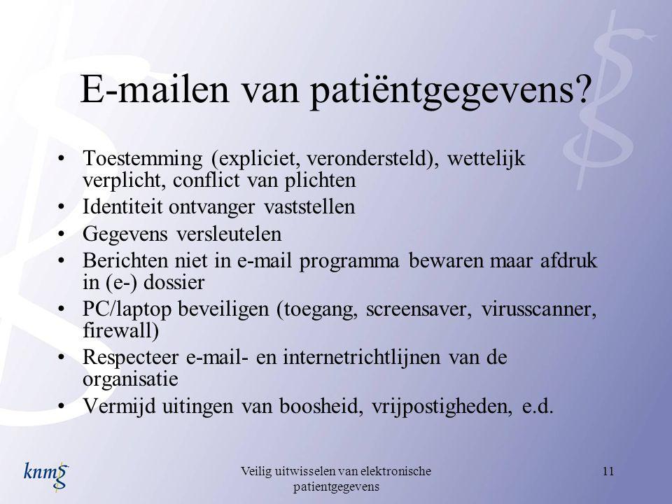 Veilig uitwisselen van elektronische patientgegevens 11 E-mailen van patiëntgegevens? Toestemming (expliciet, verondersteld), wettelijk verplicht, con