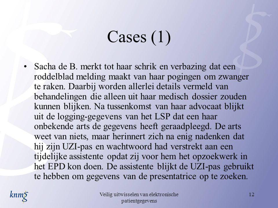 Veilig uitwisselen van elektronische patientgegevens 12 Cases (1) Sacha de B. merkt tot haar schrik en verbazing dat een roddelblad melding maakt van