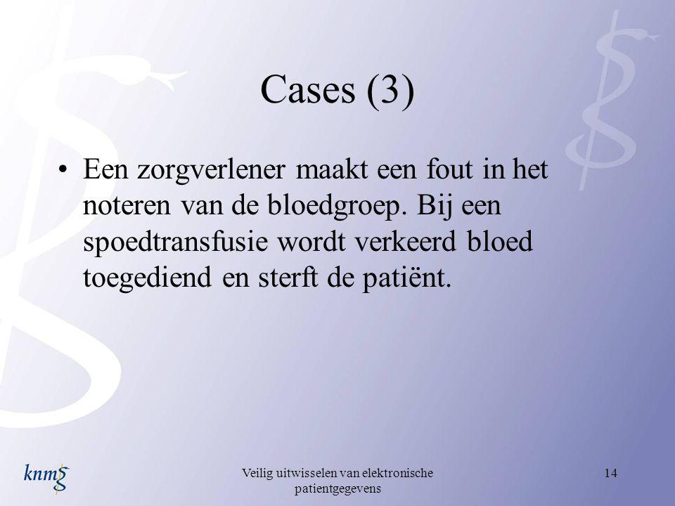 Veilig uitwisselen van elektronische patientgegevens 14 Cases (3) Een zorgverlener maakt een fout in het noteren van de bloedgroep. Bij een spoedtrans