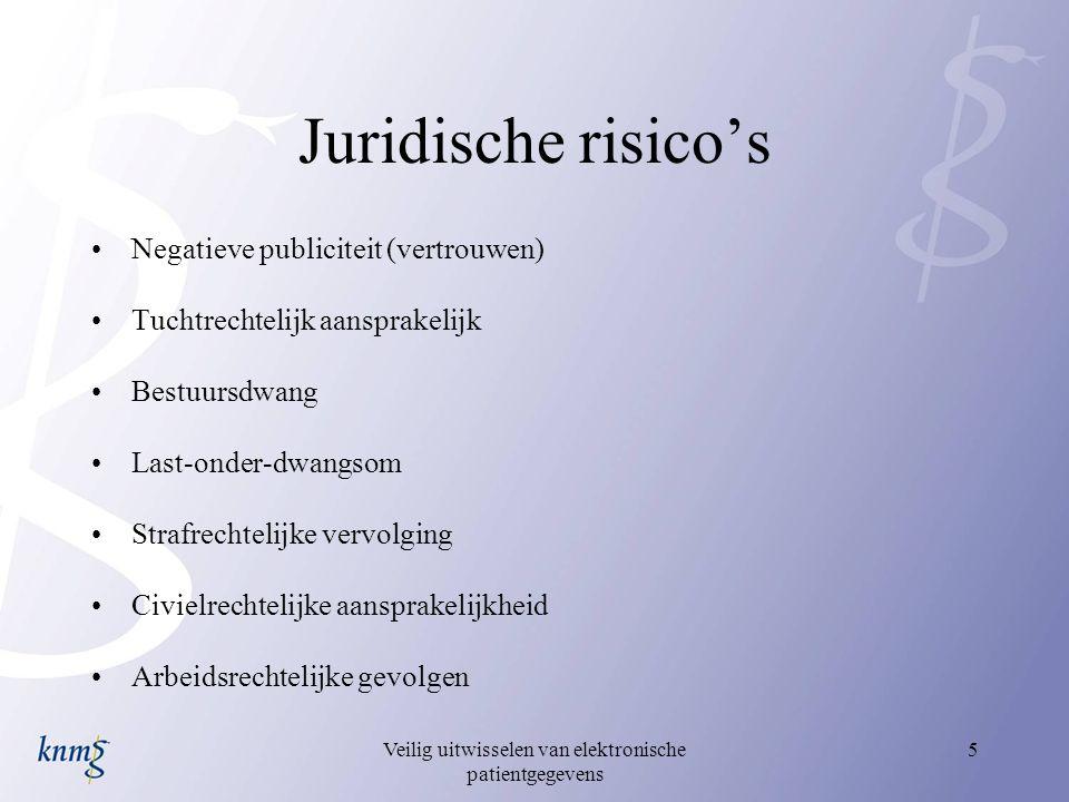 Veilig uitwisselen van elektronische patientgegevens 5 Juridische risico's Negatieve publiciteit (vertrouwen) Tuchtrechtelijk aansprakelijk Bestuursdw