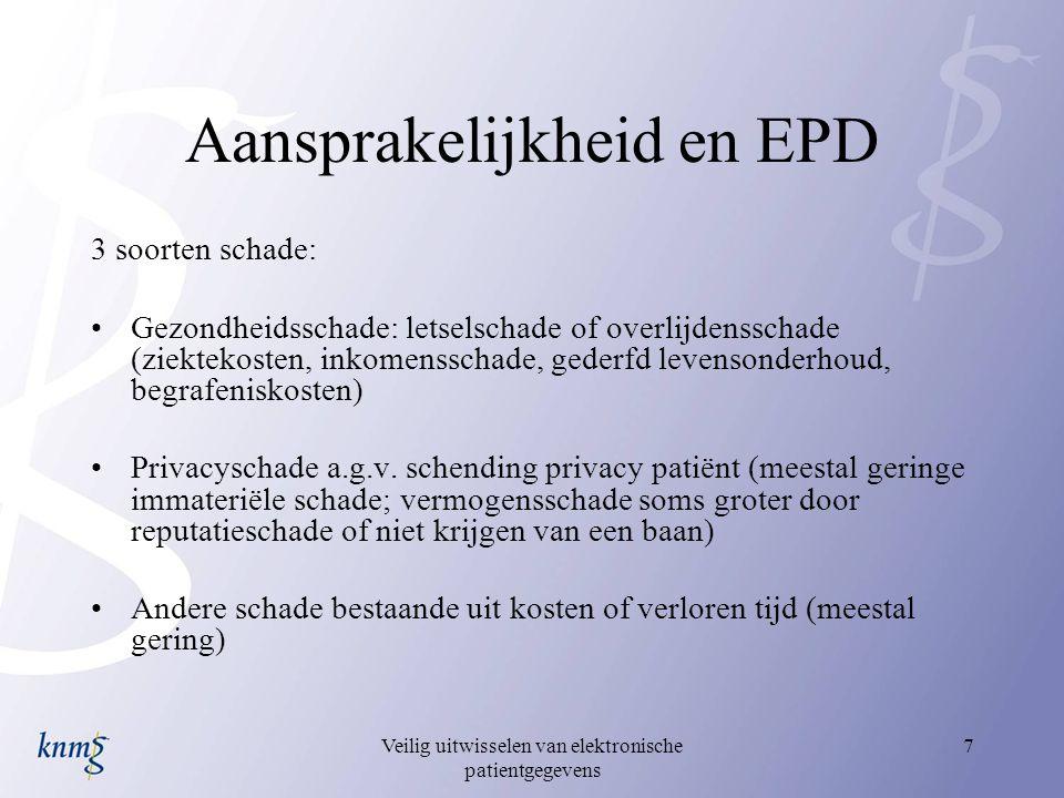 Veilig uitwisselen van elektronische patientgegevens 7 Aansprakelijkheid en EPD 3 soorten schade: Gezondheidsschade: letselschade of overlijdensschade