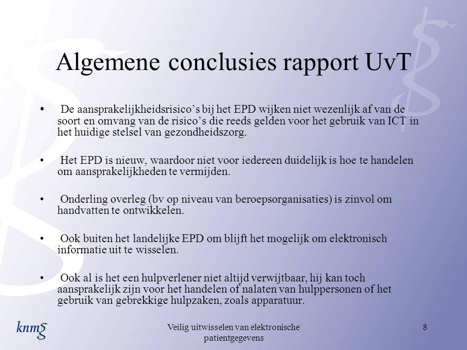 Veilig uitwisselen van elektronische patientgegevens 8 Algemene conclusies rapport UvT De aansprakelijkheidsrisico's bij het EPD wijken niet wezenlijk