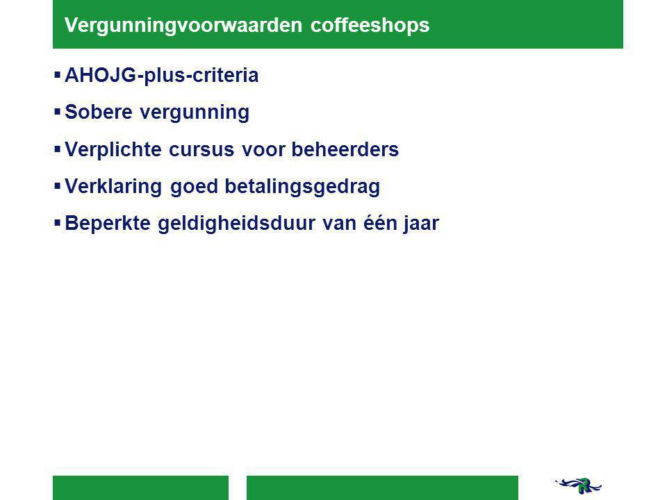Vergunningvoorwaarden coffeeshops  AHOJG-plus-criteria  Sobere vergunning  Verplichte cursus voor beheerders  Verklaring goed betalingsgedrag  Beperkte geldigheidsduur van één jaar