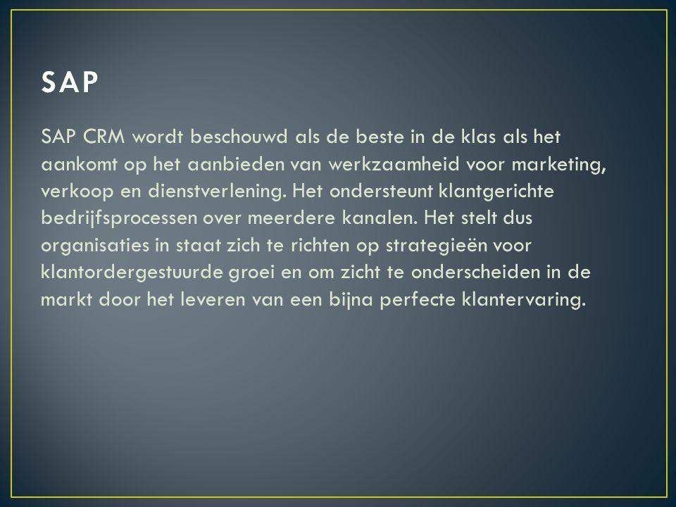 SAP CRM wordt beschouwd als de beste in de klas als het aankomt op het aanbieden van werkzaamheid voor marketing, verkoop en dienstverlening.