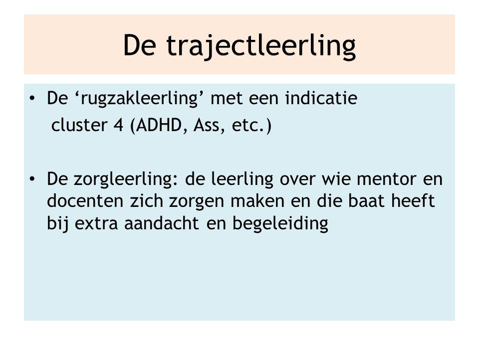 De trajectleerling De 'rugzakleerling' met een indicatie cluster 4 (ADHD, Ass, etc.) De zorgleerling: de leerling over wie mentor en docenten zich zorgen maken en die baat heeft bij extra aandacht en begeleiding
