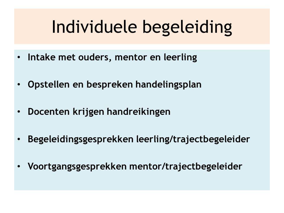 Individuele begeleiding Intake met ouders, mentor en leerling Opstellen en bespreken handelingsplan Docenten krijgen handreikingen Begeleidingsgesprekken leerling/trajectbegeleider Voortgangsgesprekken mentor/trajectbegeleider