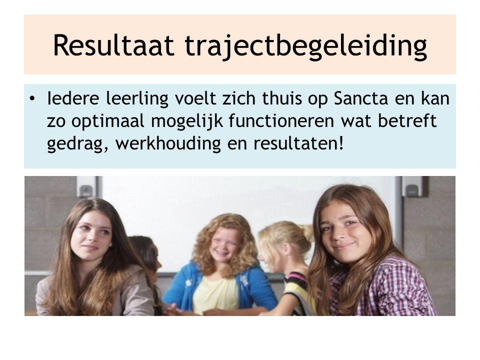 Resultaat trajectbegeleiding Iedere leerling voelt zich thuis op Sancta en kan zo optimaal mogelijk functioneren wat betreft gedrag, werkhouding en resultaten!