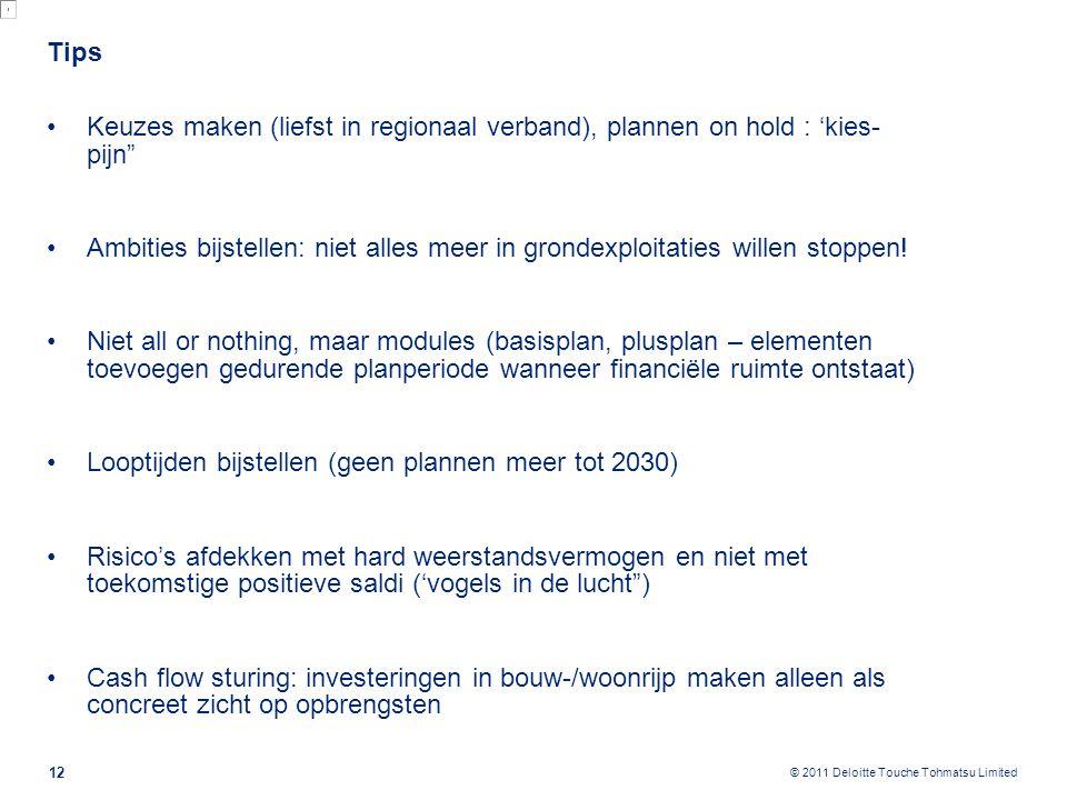 """© 2011 Deloitte Touche Tohmatsu Limited Tips Keuzes maken (liefst in regionaal verband), plannen on hold : 'kies- pijn"""" Ambities bijstellen: niet alle"""