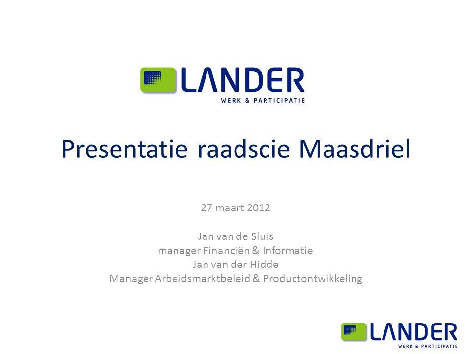 Presentatie raadscie Maasdriel 27 maart 2012 Jan van de Sluis manager Financiën & Informatie Jan van der Hidde Manager Arbeidsmarktbeleid & Productont