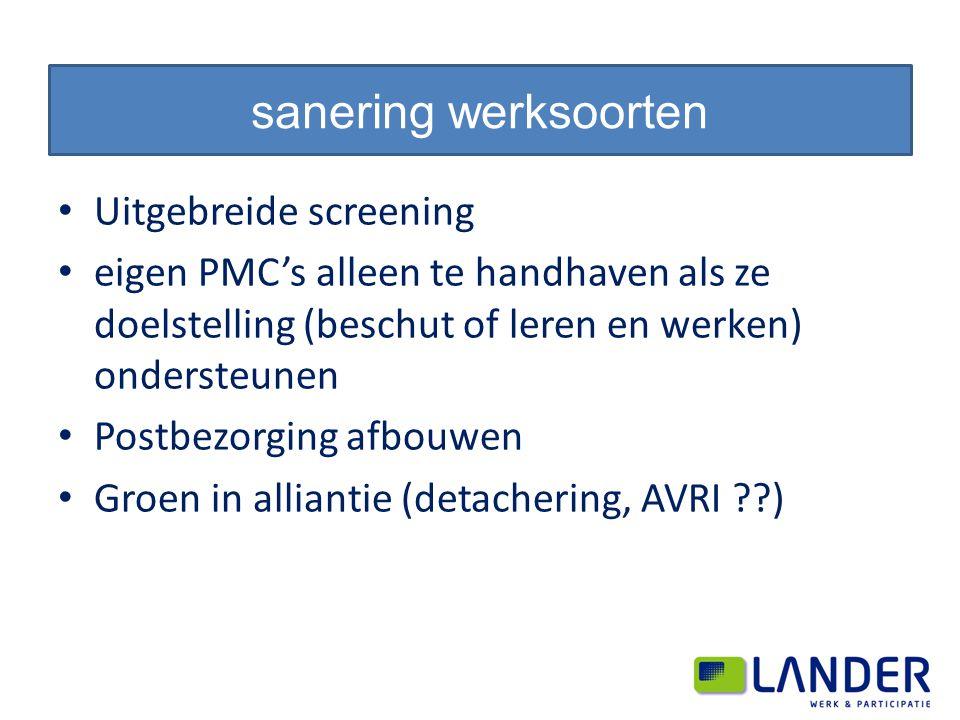 Uitgebreide screening eigen PMC's alleen te handhaven als ze doelstelling (beschut of leren en werken) ondersteunen Postbezorging afbouwen Groen in alliantie (detachering, AVRI ) sanering werksoorten