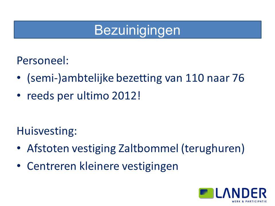 Personeel: (semi-)ambtelijke bezetting van 110 naar 76 reeds per ultimo 2012! Huisvesting: Afstoten vestiging Zaltbommel (terughuren) Centreren kleine