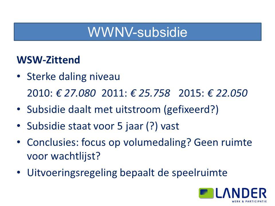 WSW-Zittend Sterke daling niveau 2010: € 27.080 2011: € 25.758 2015: € 22.050 Subsidie daalt met uitstroom (gefixeerd ) Subsidie staat voor 5 jaar ( ) vast Conclusies: focus op volumedaling.