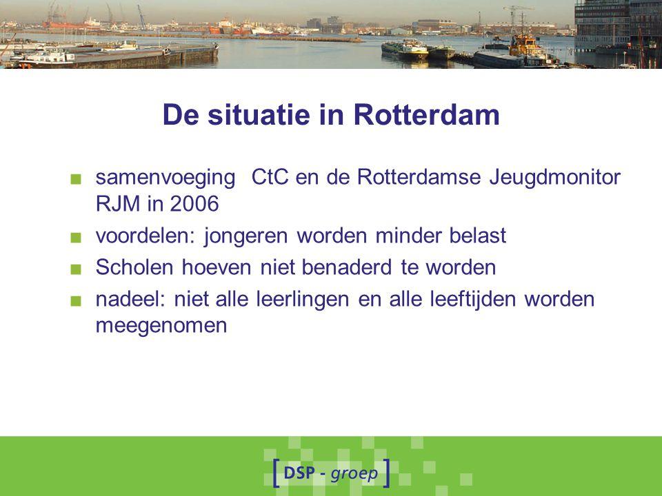 De situatie in Rotterdam ■ samenvoeging CtC en de Rotterdamse Jeugdmonitor RJM in 2006 ■ voordelen: jongeren worden minder belast ■ Scholen hoeven niet benaderd te worden ■ nadeel: niet alle leerlingen en alle leeftijden worden meegenomen