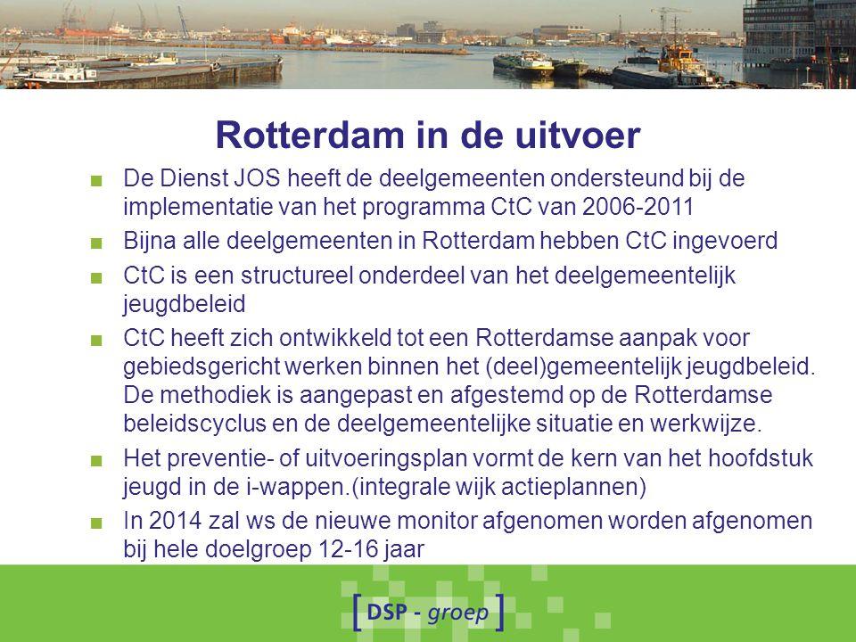 Rotterdam in de uitvoer ■ De Dienst JOS heeft de deelgemeenten ondersteund bij de implementatie van het programma CtC van 2006-2011 ■ Bijna alle deelg