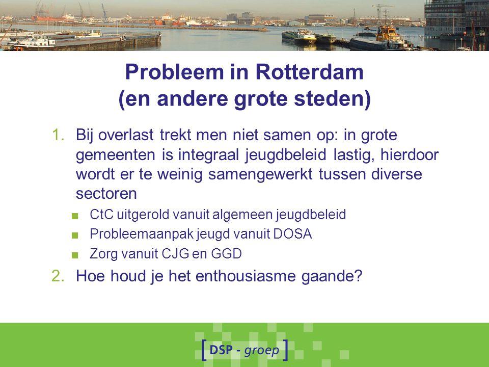 Probleem in Rotterdam (en andere grote steden) 1.Bij overlast trekt men niet samen op: in grote gemeenten is integraal jeugdbeleid lastig, hierdoor wo