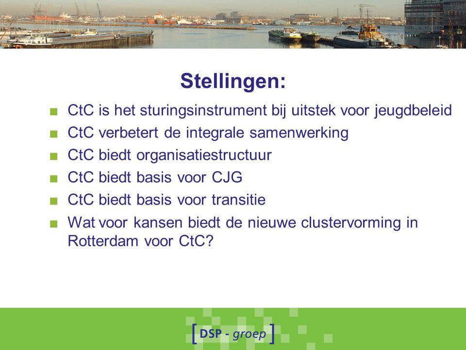Stellingen: ■ CtC is het sturingsinstrument bij uitstek voor jeugdbeleid ■ CtC verbetert de integrale samenwerking ■ CtC biedt organisatiestructuur ■ CtC biedt basis voor CJG ■ CtC biedt basis voor transitie ■ Wat voor kansen biedt de nieuwe clustervorming in Rotterdam voor CtC?