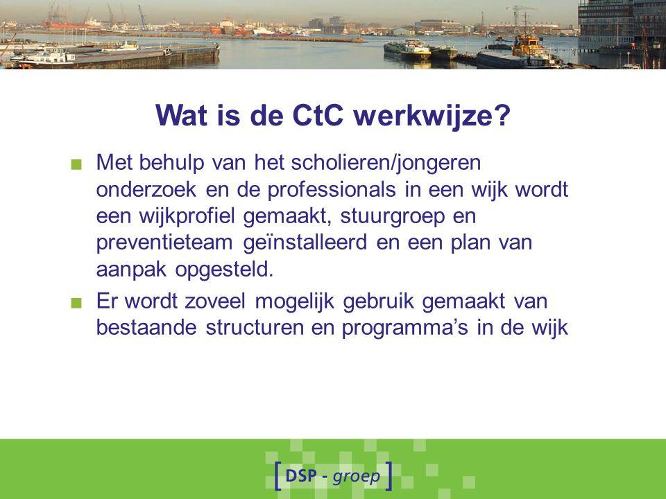 Wat is de CtC werkwijze? ■ Met behulp van het scholieren/jongeren onderzoek en de professionals in een wijk wordt een wijkprofiel gemaakt, stuurgroep