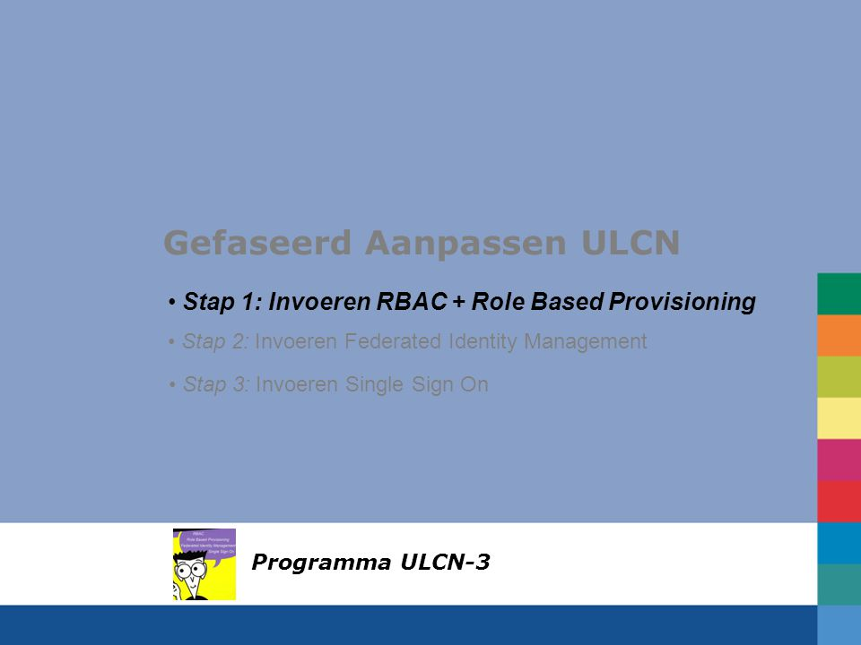 Gefaseerd Aanpassen ULCN Stap 1: Invoeren RBAC + Role Based Provisioning Stap 2: Invoeren Federated Identity Management Stap 3: Invoeren Single Sign On Programma ULCN-3